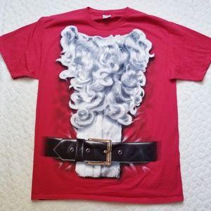 Santa tee shirt beard belt costume shirt cotton